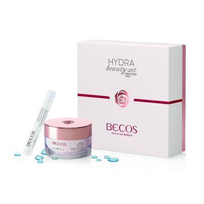 BECOS HYDRA BEAUTY SET Un trattamento viso in confezione regalo contenente una crema viso idratante e un contorno occhi in gel. I prodotti sono ideali per le pelli molto secche e disidratate perché nutrono a fondo senza appesantire.
