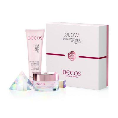 BECOS GLOW BEAUTY SET Un cofanetto speciale in edizione limitata contenente una crema viso antimacchia e una crema detergente per ridare al viso un aspetto fresco e luminoso.